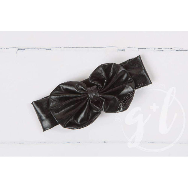 Black Lame Oversized Bow Headband - Grace and Lucille