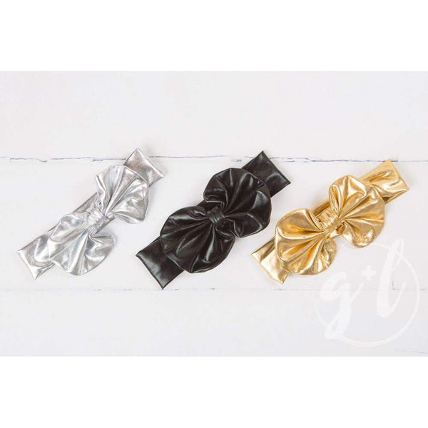 Silver Lame Oversized Bow Headband - Grace and Lucille
