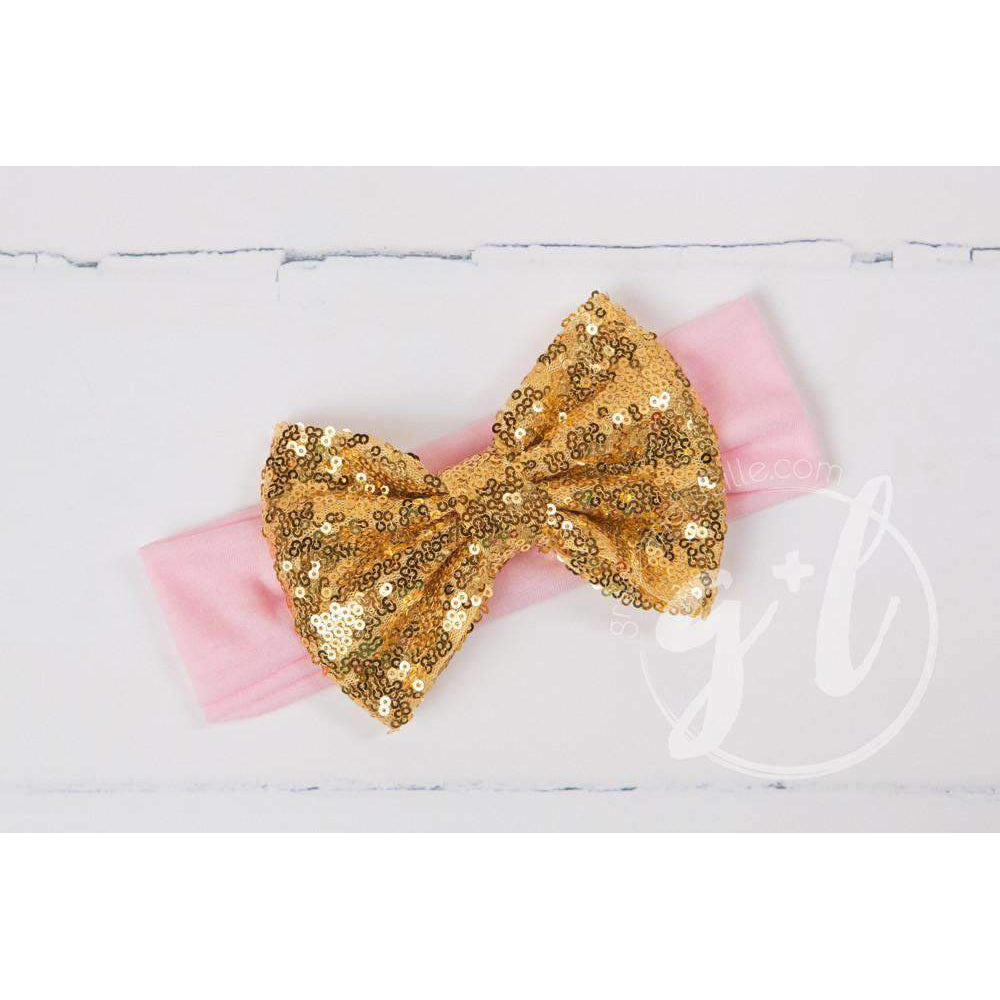Gold Sequined Bow on Solid Pink Headband - Grace and Lucille