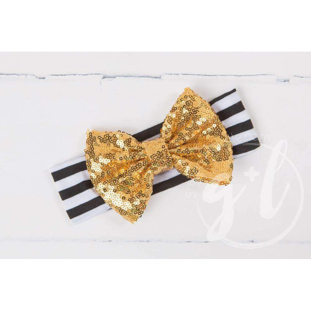 Gold Sequined Bow on Black & White Striped Headband - Grace and Lucille