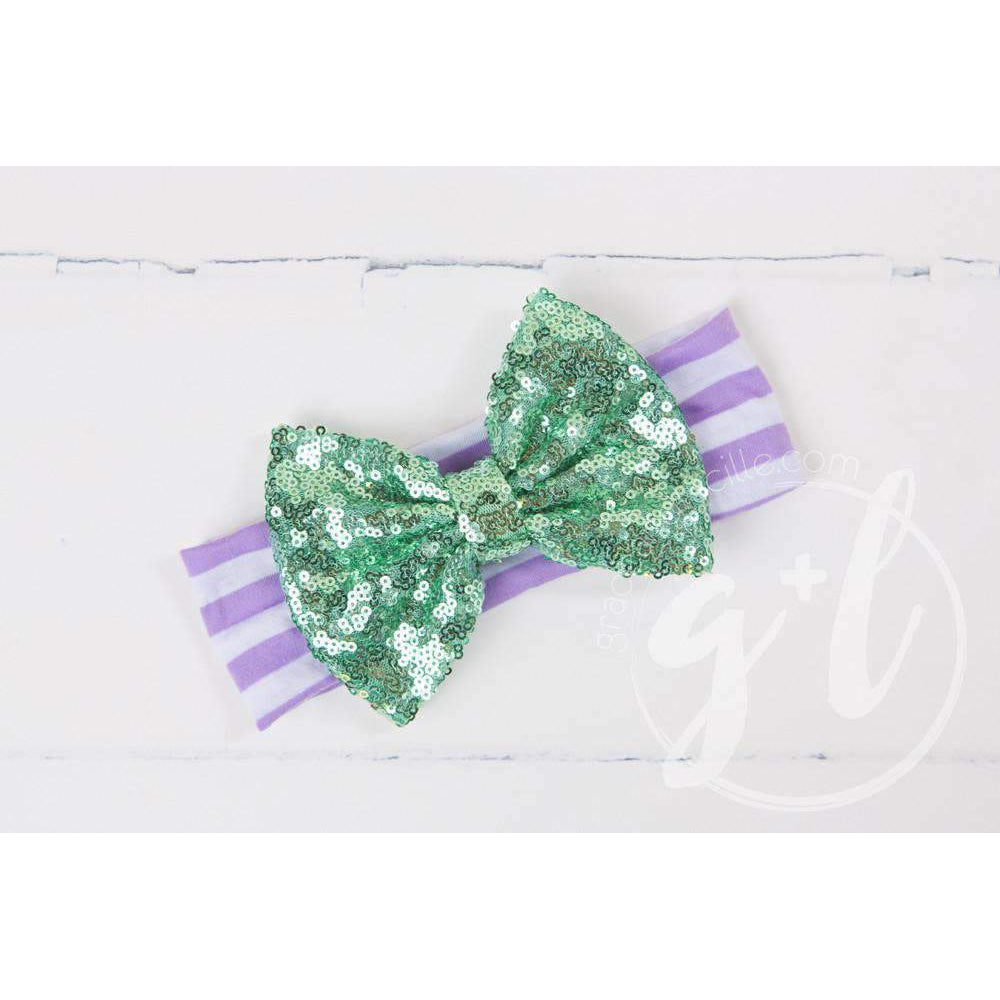 Purple Sequined Bow on Aqua & White Striped Headband - Grace and Lucille