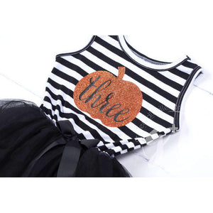 "3rd Birthday Dress Halloween Pumpkin ""THREE"" Black Striped Long Sleeves - Grace and Lucille"