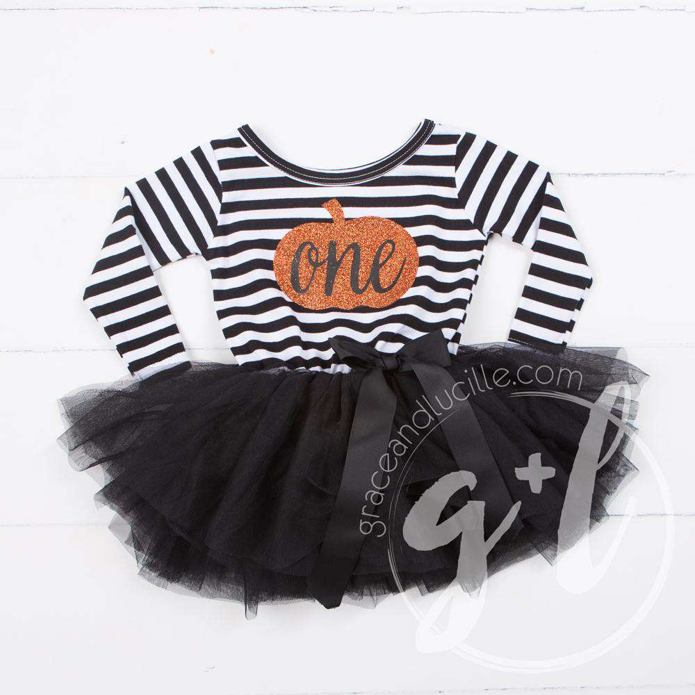"1st Birthday Dress Halloween Pumpkin ""ONE"" Black Striped Long Sleeves"