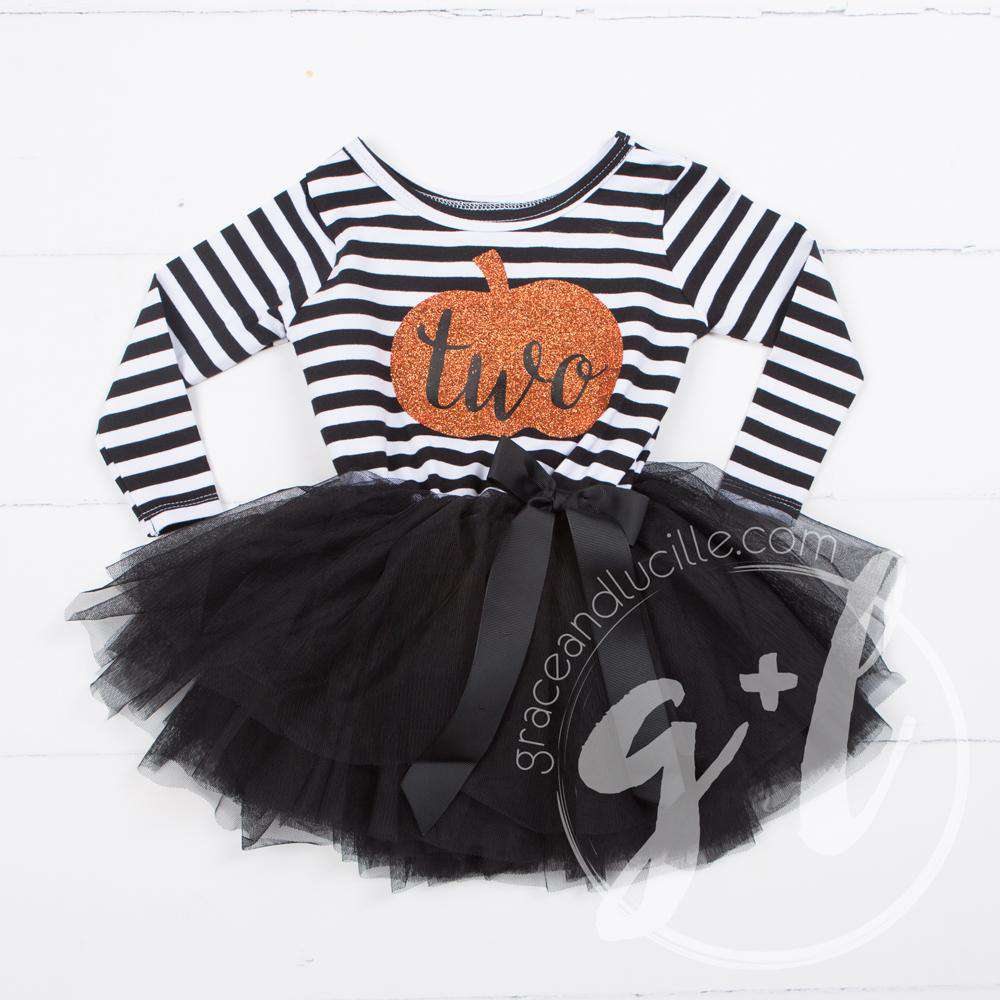 "2nd Birthday Dress Halloween Pumpkin ""TWO"" Black Striped Long Sleeves - Grace and Lucille"