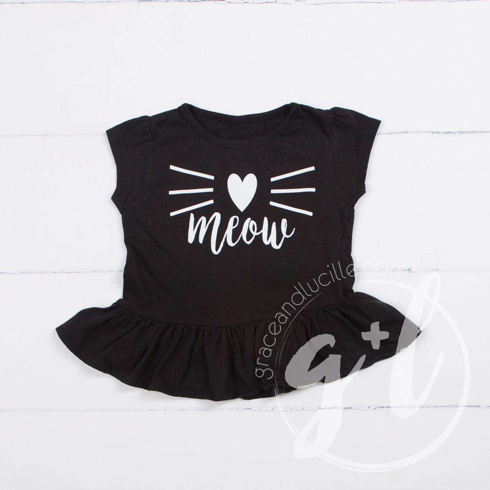 "Black Peplum Tee Shirt with ""MEOW"" Cat in White - Grace and Lucille"
