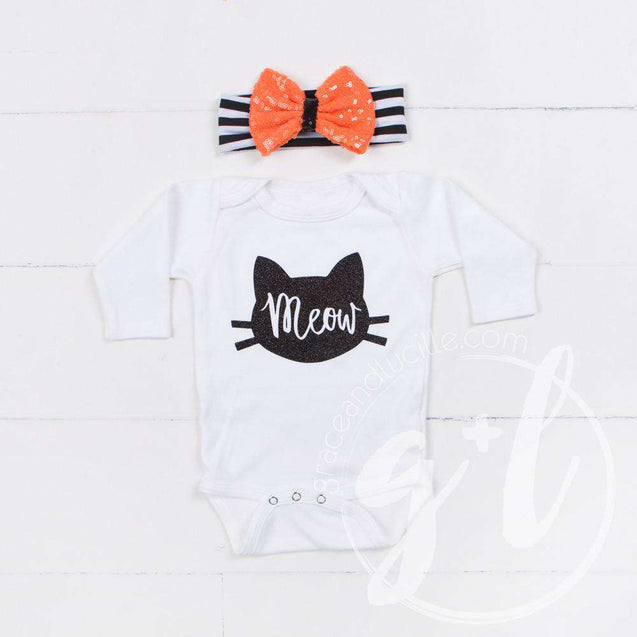 "White Long Sleeved Onesie with ""MEOW"" Cat Outline in Black - Grace and Lucille"