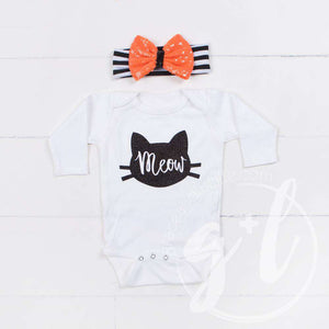 "Halloween Black Cat ""Meow"" Long Sleeve Onesie & Orange Sequin Bow on Black Stripe Headband - Grace and Lucille"