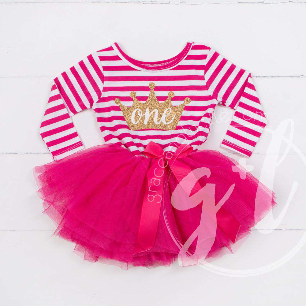 "1st Birthday Dress Gold Crown ""ONE""  Magenta Striped Long Sleeved - Grace and Lucille"