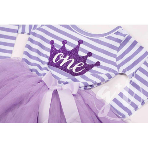 1st Birthday Dress Purple Crown