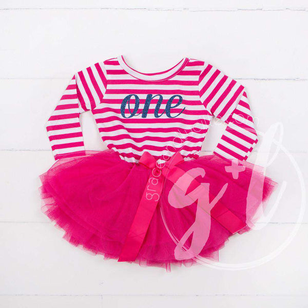 "1st Birthday Dress Blue Script ""ONE""  Magenta Striped Long Sleeves - Grace and Lucille"