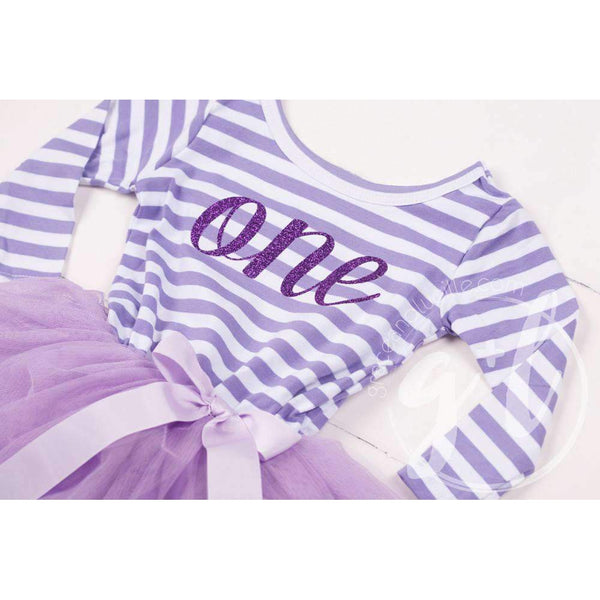 "1st Birthday Dress Purple  Script ""ONE"" Purple Striped Long Sleeves - Grace and Lucille"