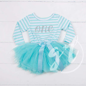 "1st Birthday Dress Silver Script ""ONE"" Aqua Striped Long Sleeves - Grace and Lucille"