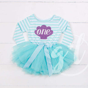 "1st Birthday Mermaid Dress Purple Sea Shell ""ONE"" Aqua Striped Long Sleeves - Grace and Lucille"