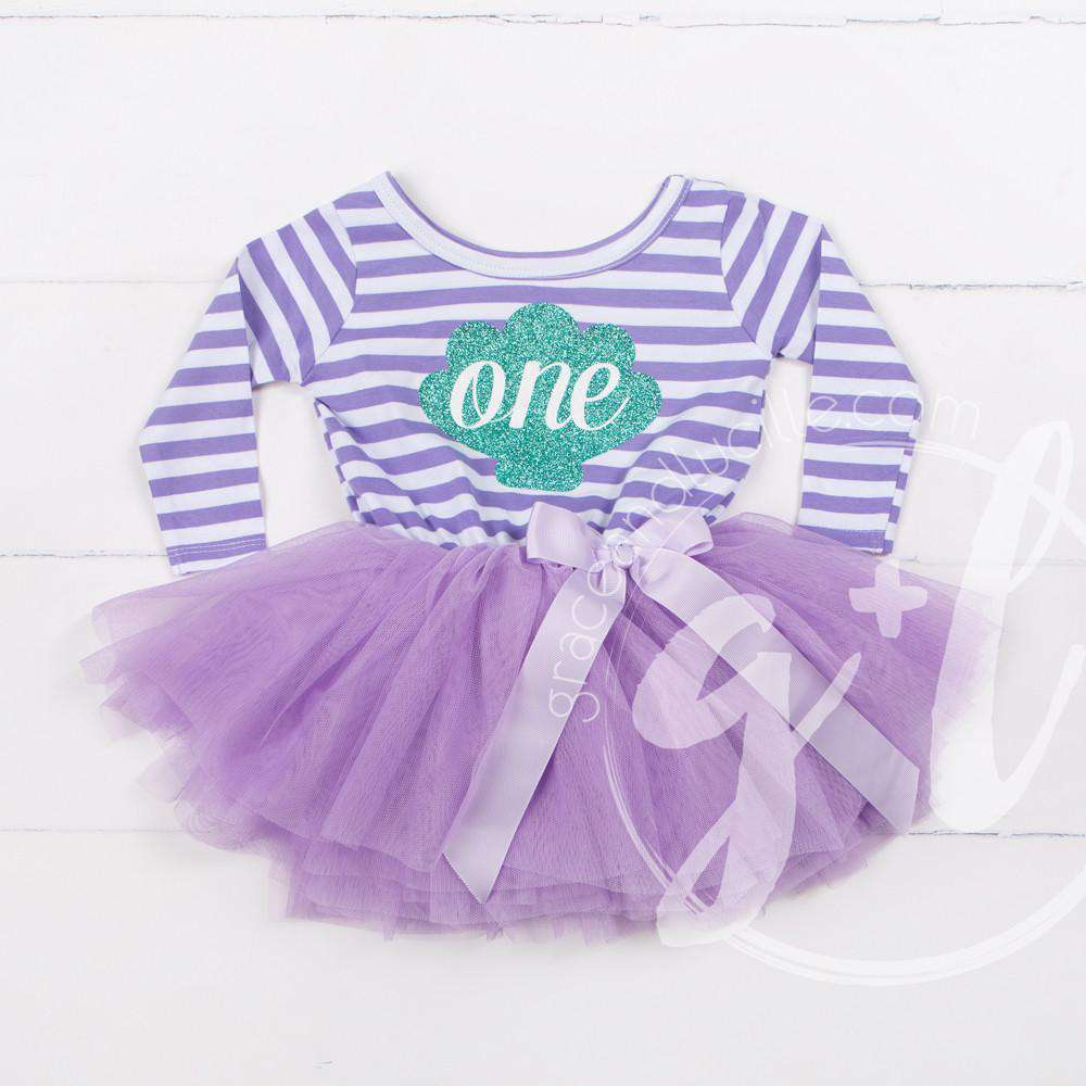 "1st Birthday Mermaid Dress Aqua Sea Shell ""ONE"" Purple Striped Long Sleeves - Grace and Lucille"