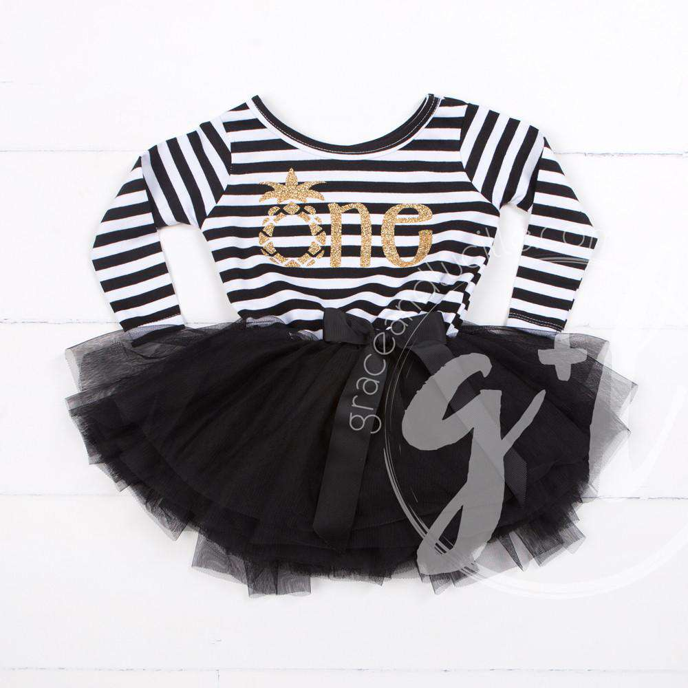 "1st Birthday Dress Gold Pineapple ""ONE"" Black Striped Long Sleeves - Grace and Lucille"