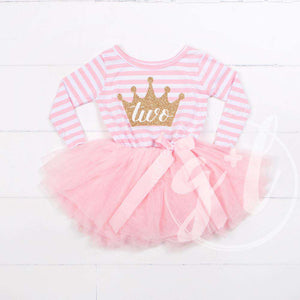 "2nd Birthday Dress Gold Crown""TWO"" Pink Striped Long Sleeve - Grace and Lucille"