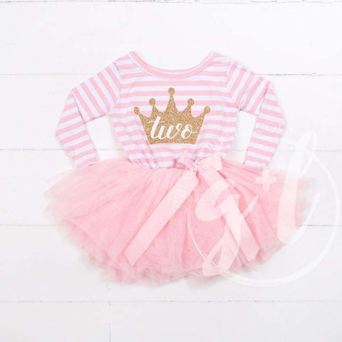 2nd Birthday Dress Gold Crown