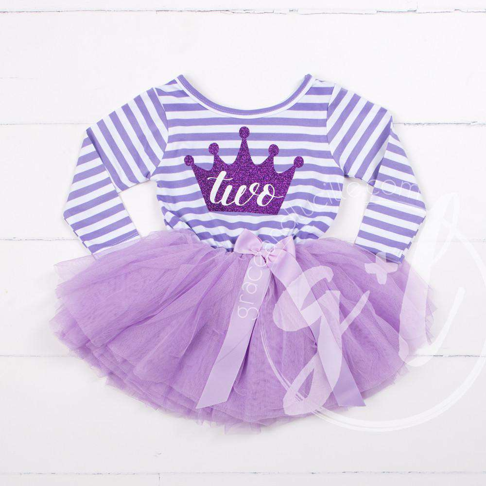 "2nd Birthday Dress Purple Crown ""TWO""  Purple Striped Long Sleeves - Grace and Lucille"