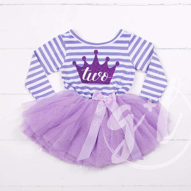 "2nd Birthday Dress Purple Crown ""TWO"" on Purple Striped Sleeveless - Grace and Lucille"