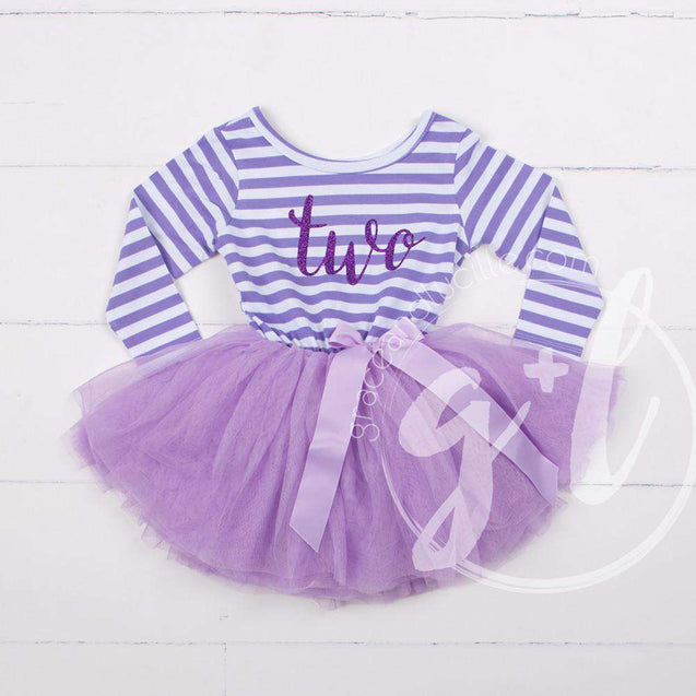 "2nd Birthday Dress Purple Script ""TWO"" Purple Striped Long Sleeves - Grace and Lucille"