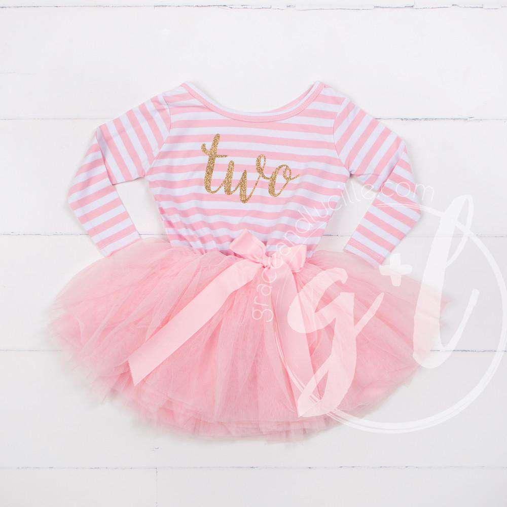 "2nd Birthday Dress Gold Script ""TWO"" Pink Striped Long Sleeves - Grace and Lucille"