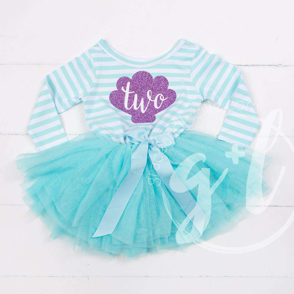 "2nd Birthday Mermaid Dress Purple Sea Shell ""TWO"" Aqua Striped Long Sleeves - Grace and Lucille"
