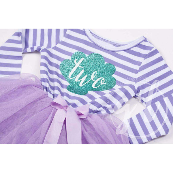 "2nd Birthday Mermaid Dress Aqua Sea Shell ""TWO"" Purple Striped Long Sleeves - Grace and Lucille"