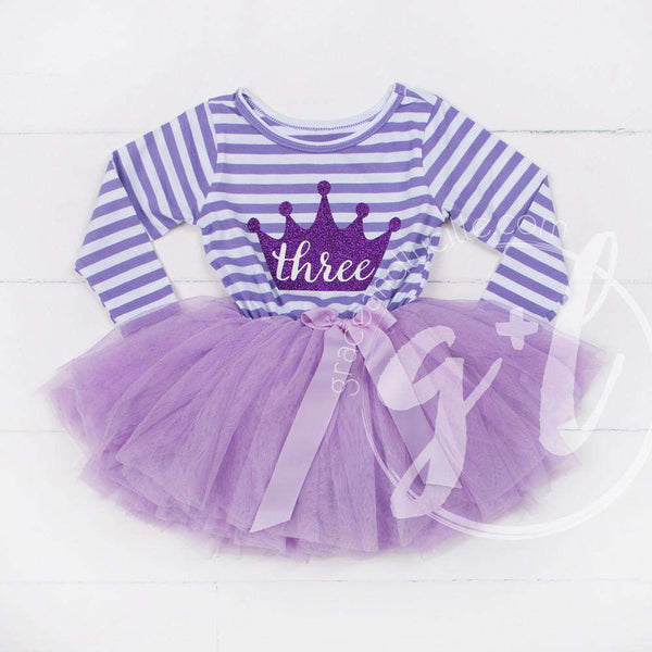 "3rd Birthday Dress Purple Crown ""THREE"" on Purple Striped Sleeveless - Grace and Lucille"