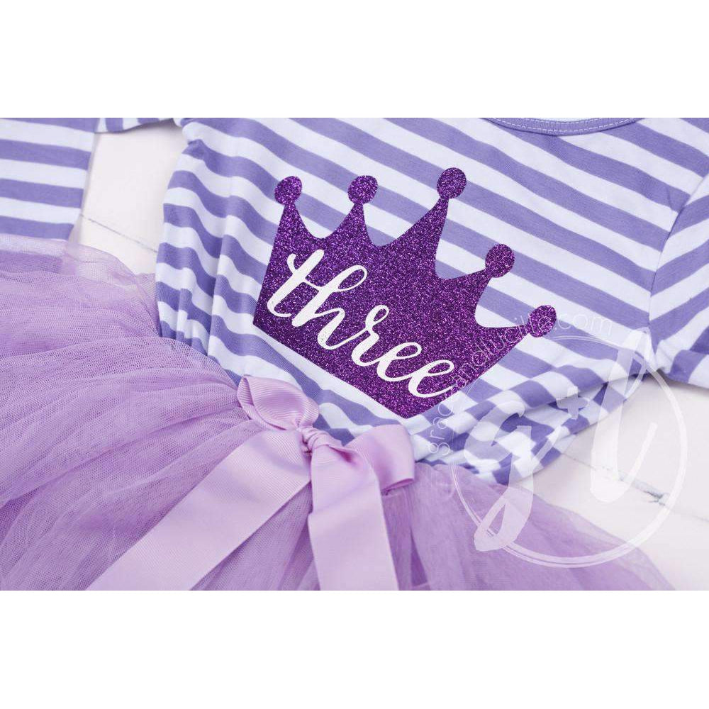 "3rd Birthday Dress Purple Crown ""THREE""  Purple Striped Long Sleeves - Grace and Lucille"