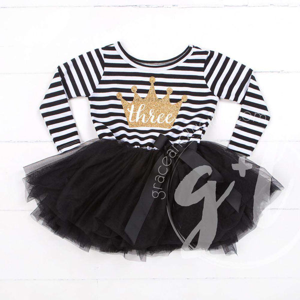 "3rd Birthday Dress Gold Crown ""THREE""  Black Striped Long Sleeves - Grace and Lucille"