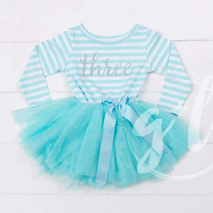 "3rd Birthday Dress Silver Script ""THREE"" Aqua Striped Long Sleeves - Grace and Lucille"