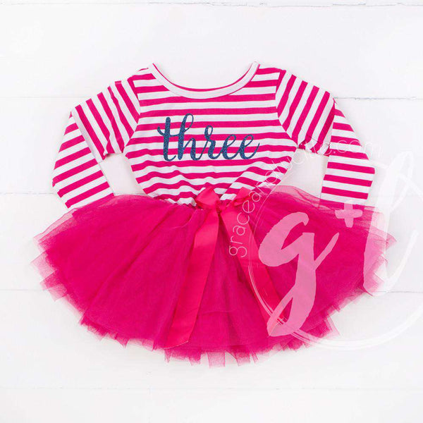 "3rd Birthday Dress Blue Script ""THREE"" Magenta Striped Long Sleeves - Grace and Lucille"