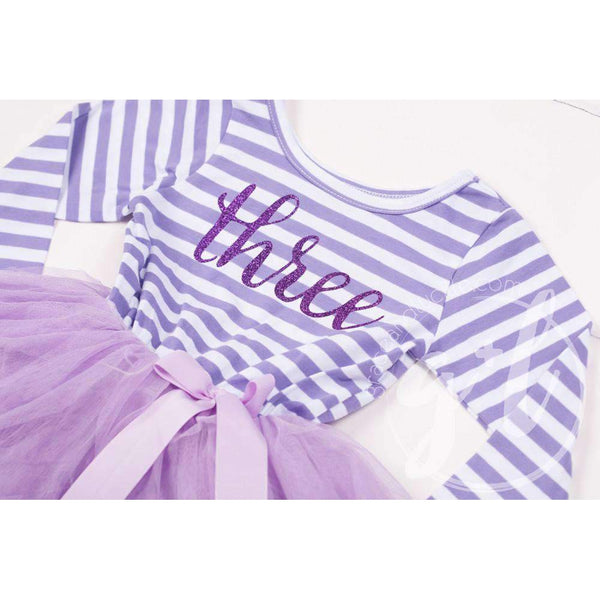 "3rd Birthday Dress Purple Script ""THREE"" Purple Striped Long Sleeves - Grace and Lucille"