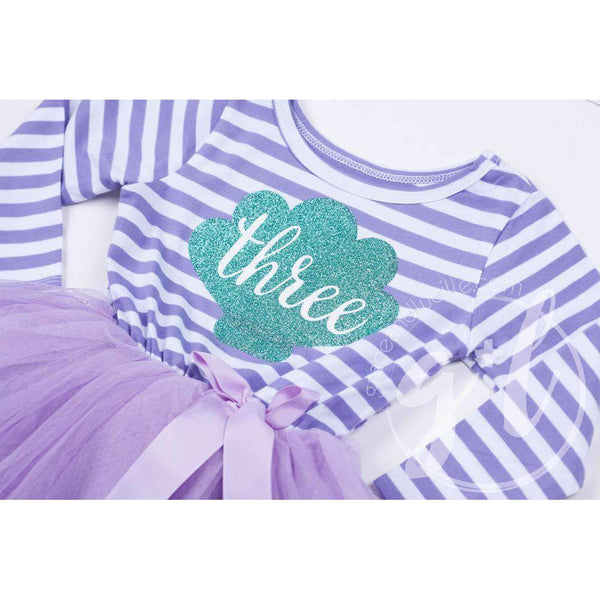 "3rd Birthday Mermaid Dress Aqua Sea Shell ""THREE"" Purple Striped Long Sleeves - Grace and Lucille"
