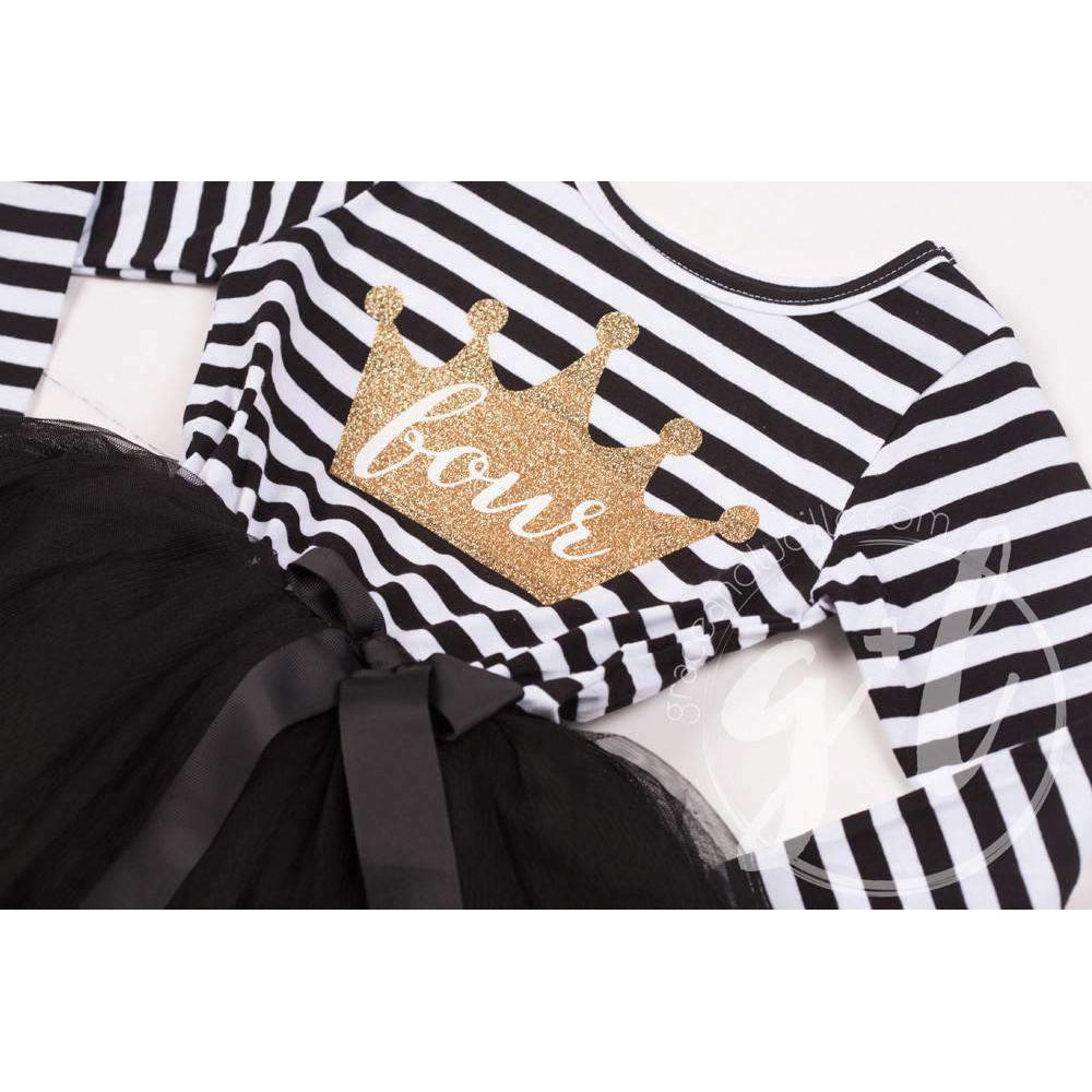 "4th Birthday Dress Gold Crown ""FOUR""  Black Striped Long Sleeves - Grace and Lucille"