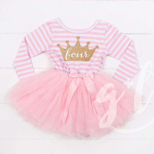 "4th Birthday Dress Gold Crown ""FOUR"" Pink Striped Long Sleeve - Grace and Lucille"
