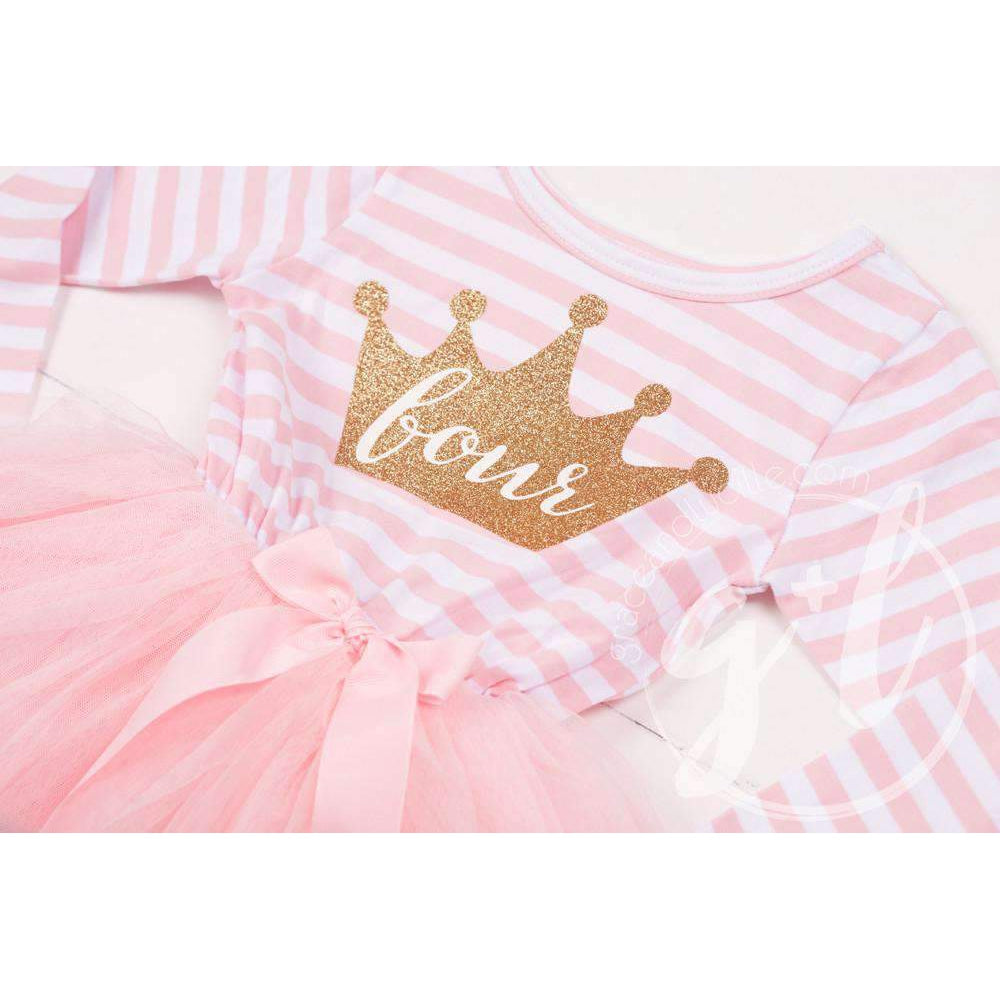 "4th Birthday Dress Gold Crown ""FOUR"" Pink Striped Long Sleeve"