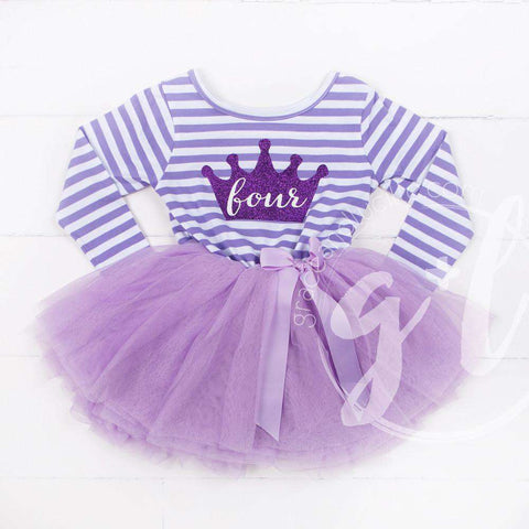 4th Birthday Dress Purple Crown