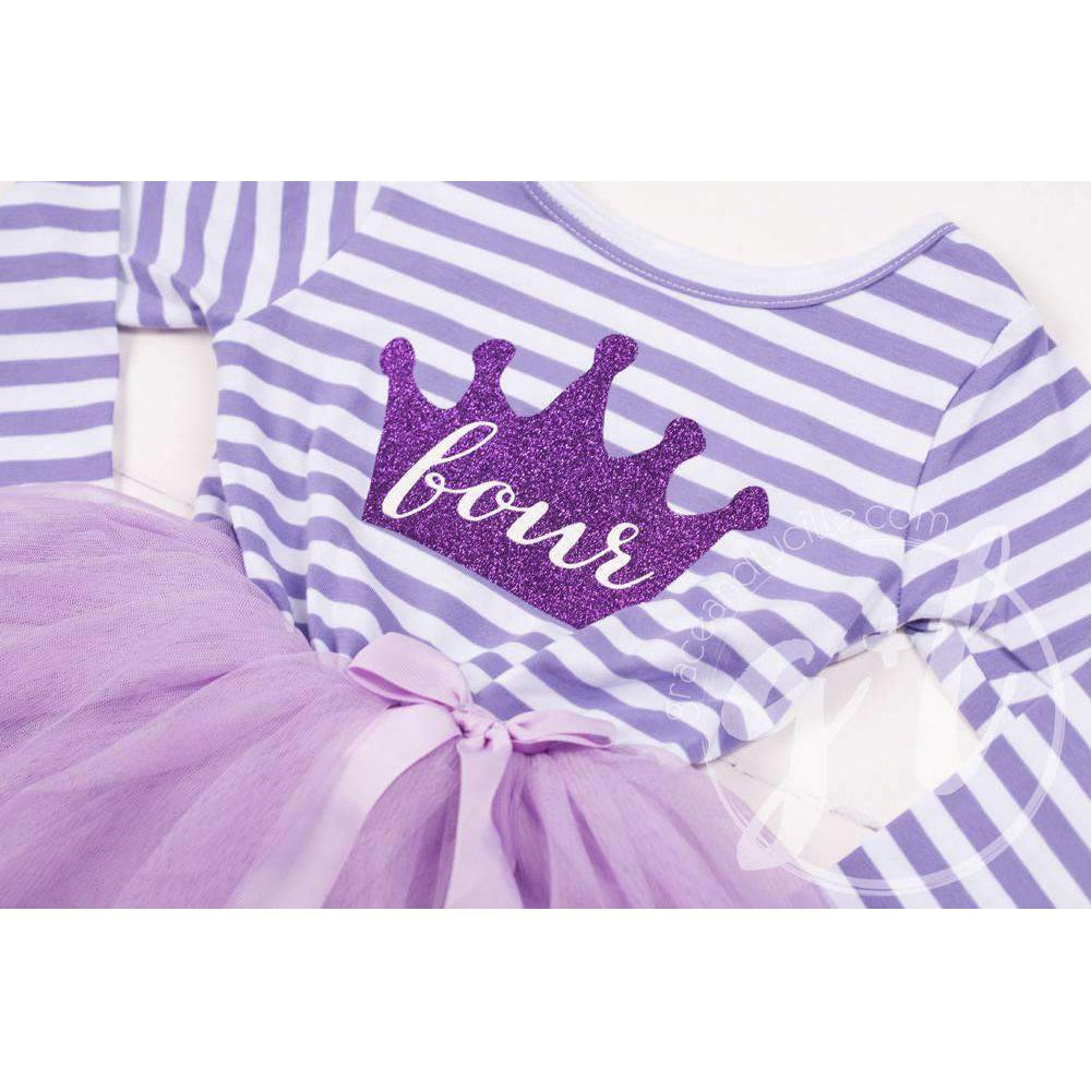 "4th Birthday Dress Purple Crown ""FOUR"" Purple Striped Long Sleeves - Grace and Lucille"