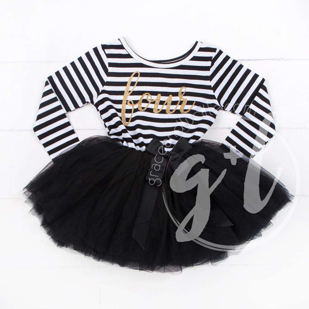 "4th Birthday Dress Gold Script ""FOUR"" Black Striped Long Sleeves - Grace and Lucille"