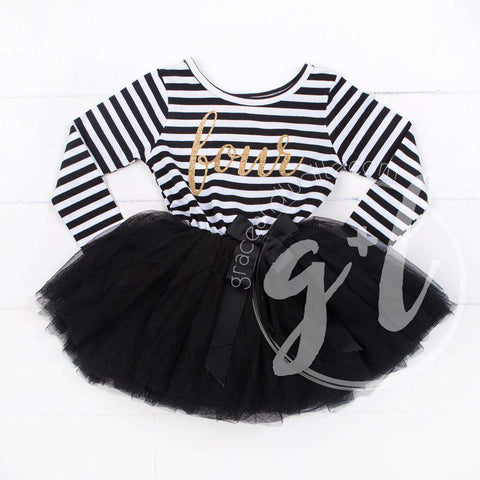 4th Birthday Dress Gold Script