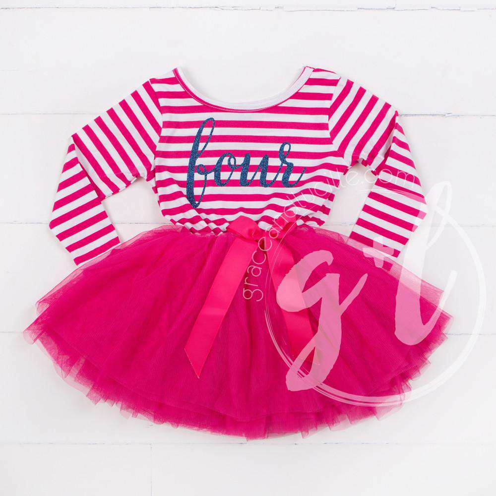 "4th Birthday Dress Blue Script ""FOUR"" Magenta Striped Long Sleeves - Grace and Lucille"