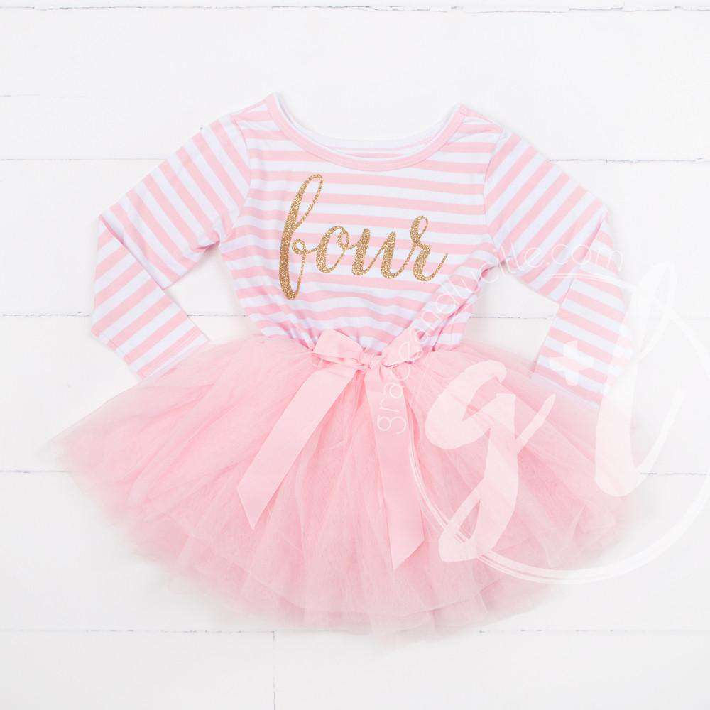 "Birthday Dress Gold Script ""FOUR"" Pink Striped Long Sleeves - Grace and Lucille"
