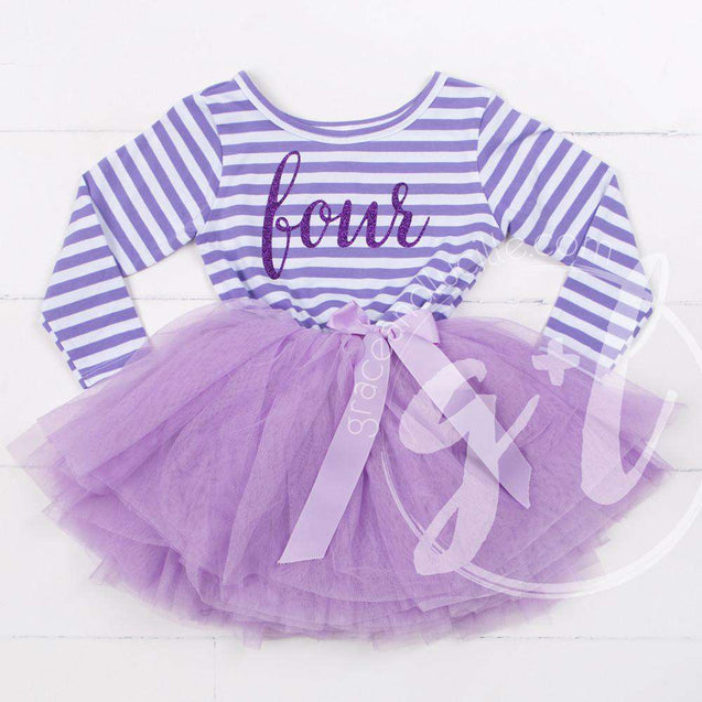 "4th Birthday Dress Purple Script ""FOUR"" Purple Striped Long Sleeves - Grace and Lucille"