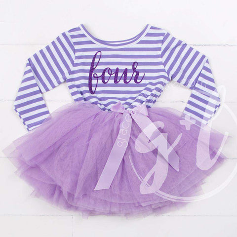4th Birthday Dress Purple Script