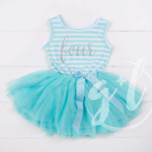 "4th Birthday Dress Silver Script ""FOUR"" Aqua Striped Sleeveless - Grace and Lucille"