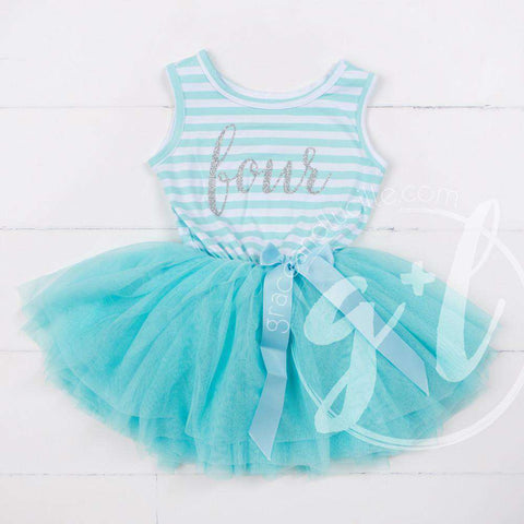4th Birthday Dress Silver Script