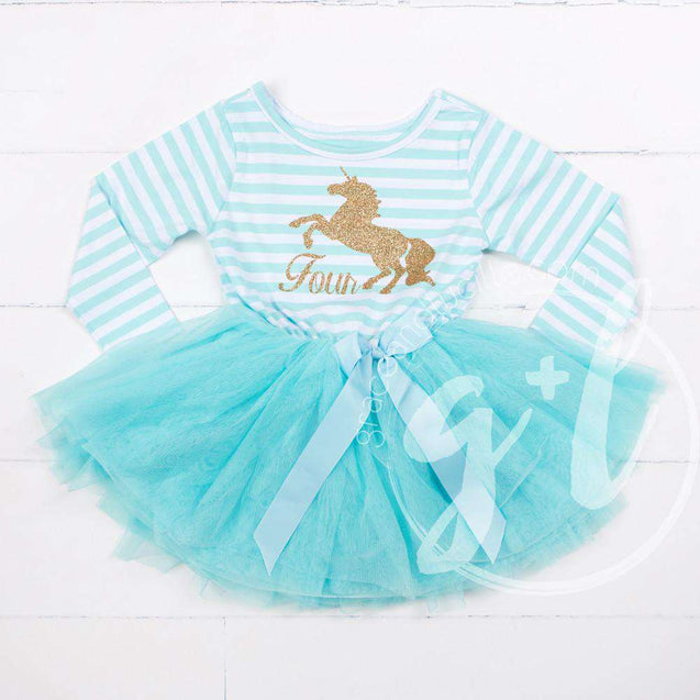 "4th Birthday Dress Gold Unicorn ""FOUR"" Aqua Striped Long Sleeves - Grace and Lucille"
