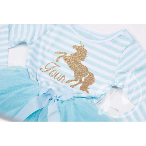 4th Birthday Dress Gold Unicorn
