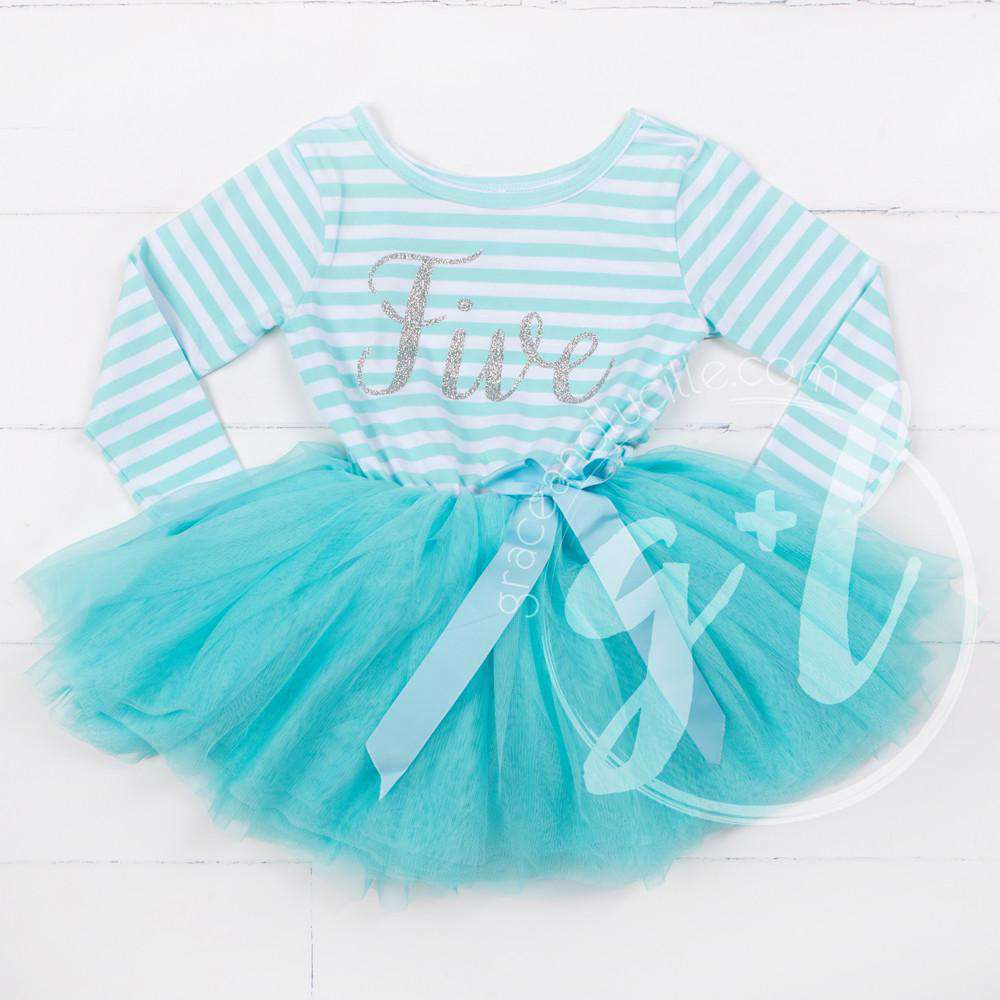 "5th Birthday Dress Silver Script ""FIVE"" Aqua Striped Long Sleeves - Grace and Lucille"